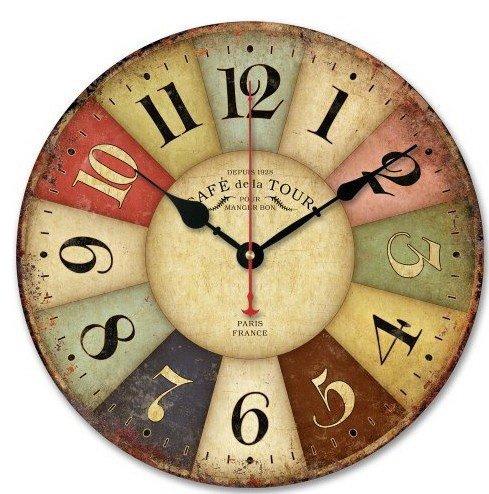Great u vintage wood horloge murale shabby style rtro - Horloge murale style industriel ...
