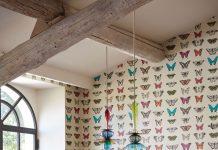 papier peint papillon salle a manger