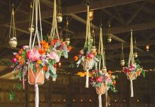suspension fleurs mariage