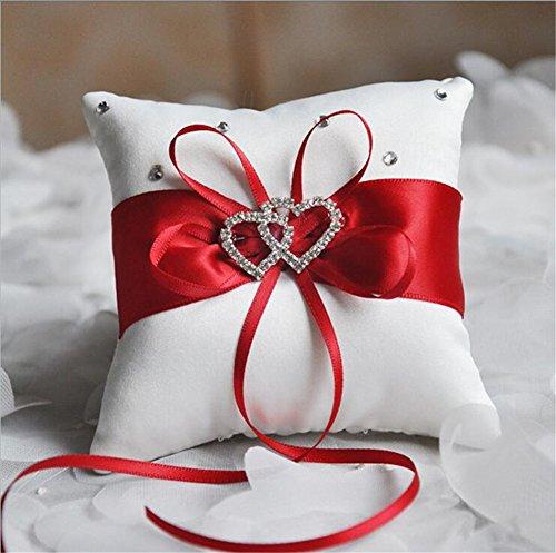 OYang Romantique Porteur de l\u0027Anneau avec Noeud,Papillon et Coeur Décoration  de Mariage Charm Rouge 10*10cm