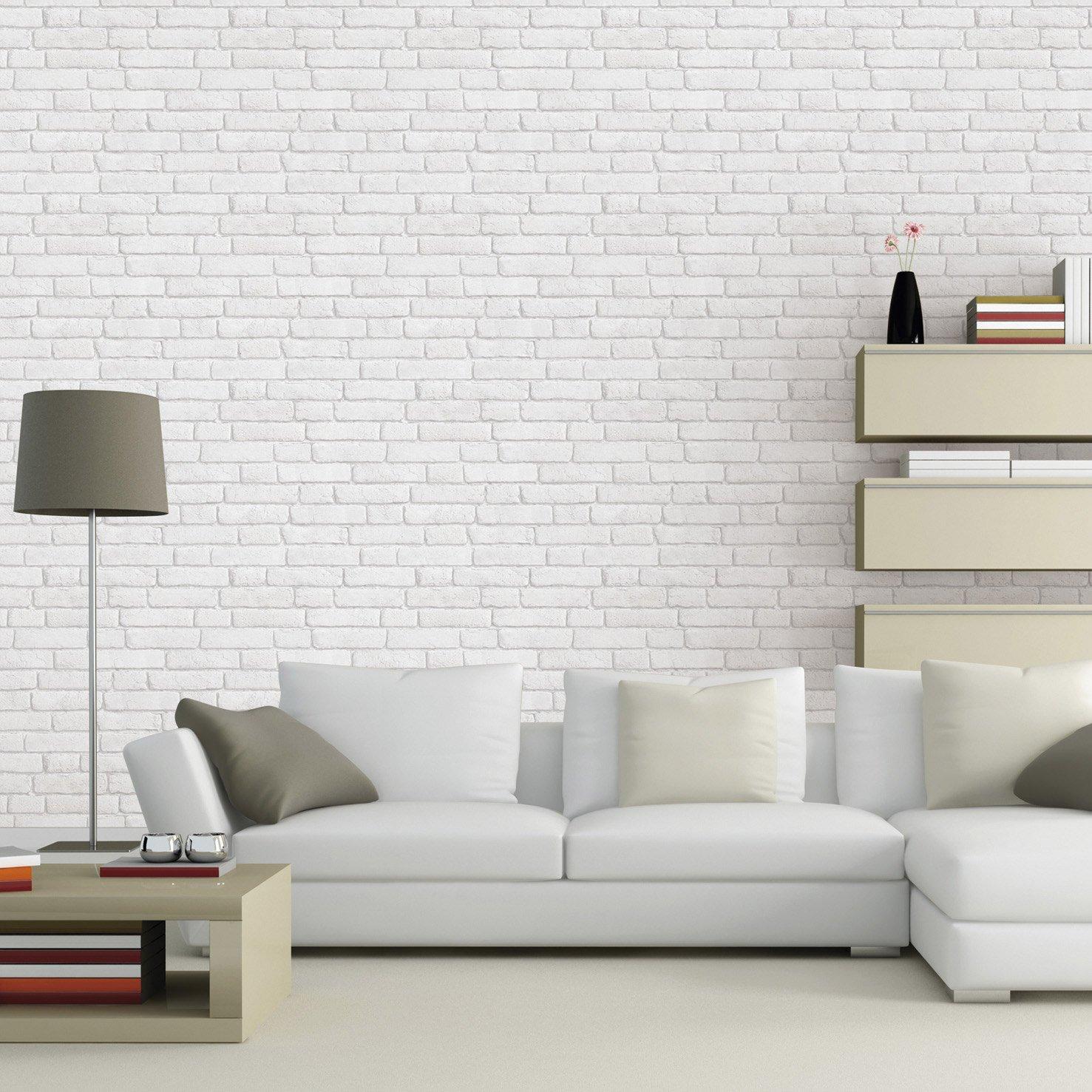 Papier peint Leroy Merlin intissé Briques anciennes blanc